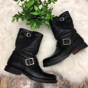 FRYE Veronica Slouch Shortie Moto Boots Black
